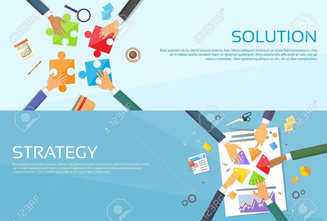 Business People Hands Making Puzzle Desk, Team Work Pie Diagram, Businessmen Finance Document Web Banner Set Flat Vector Illustration - 47576243