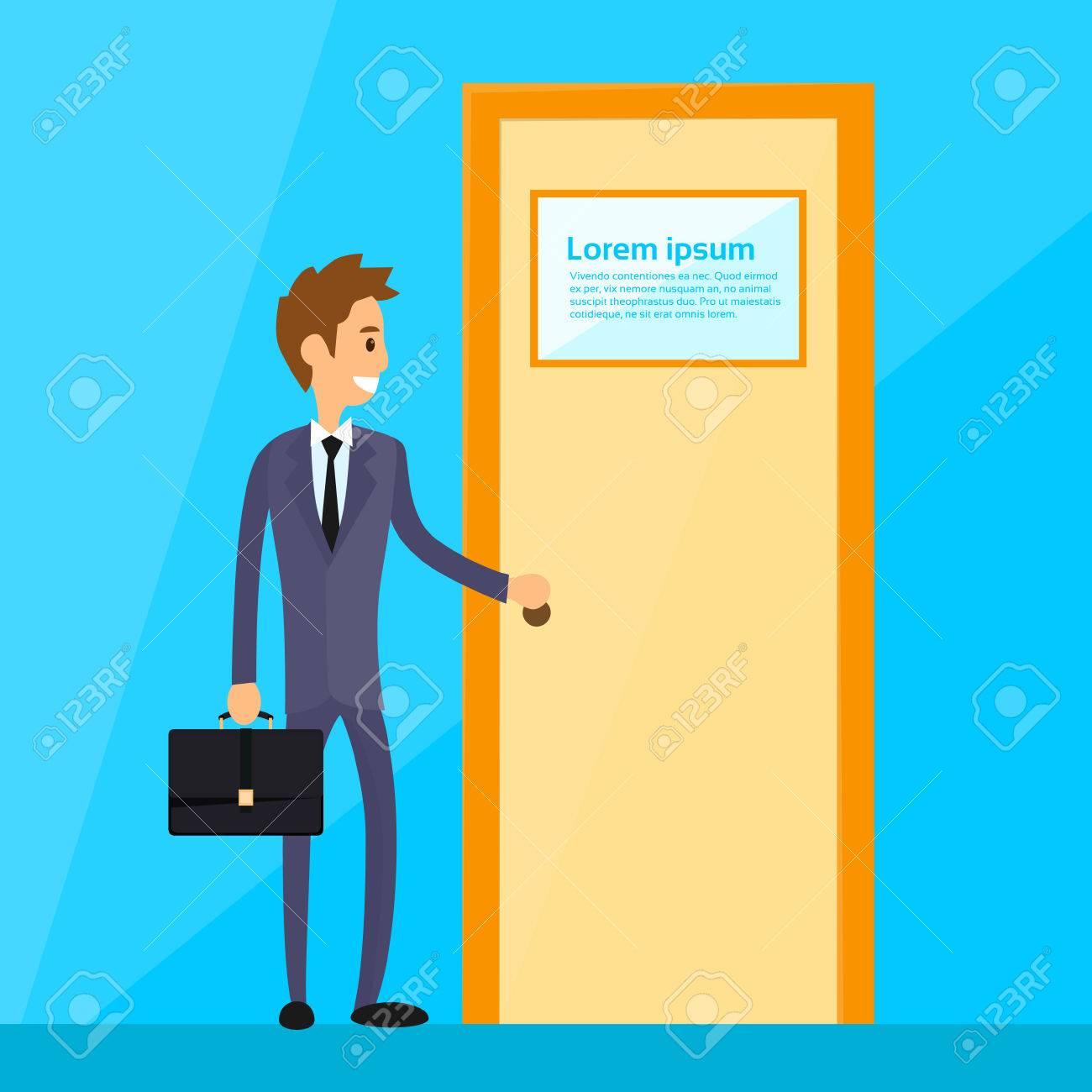 Businessman Stand Hold Handle Open Door Concept Flat Vector Illustration - 47576302