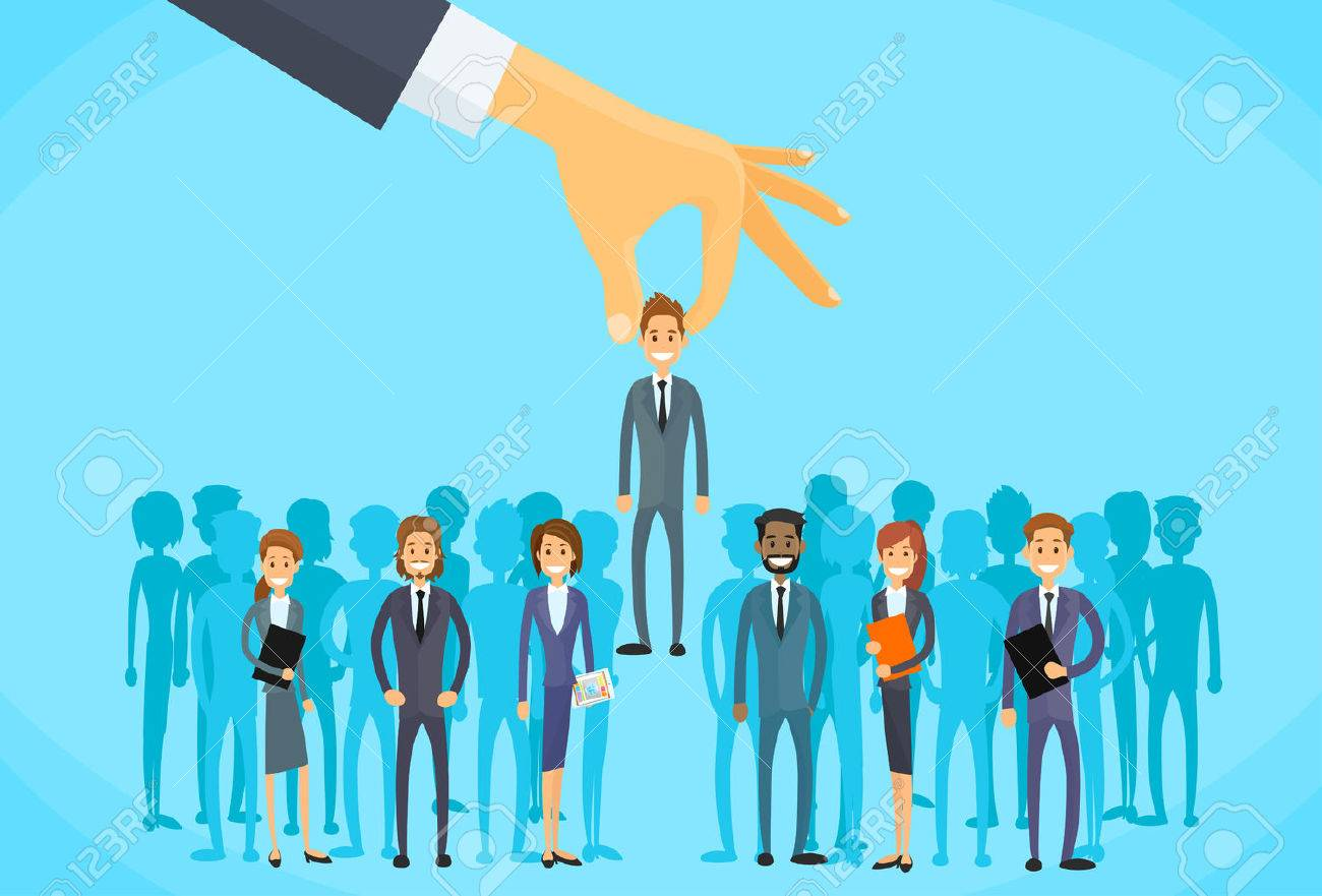 Recruitment Hand Picking Business Person Candidate People Group Flat Vector Illustration - 47576346