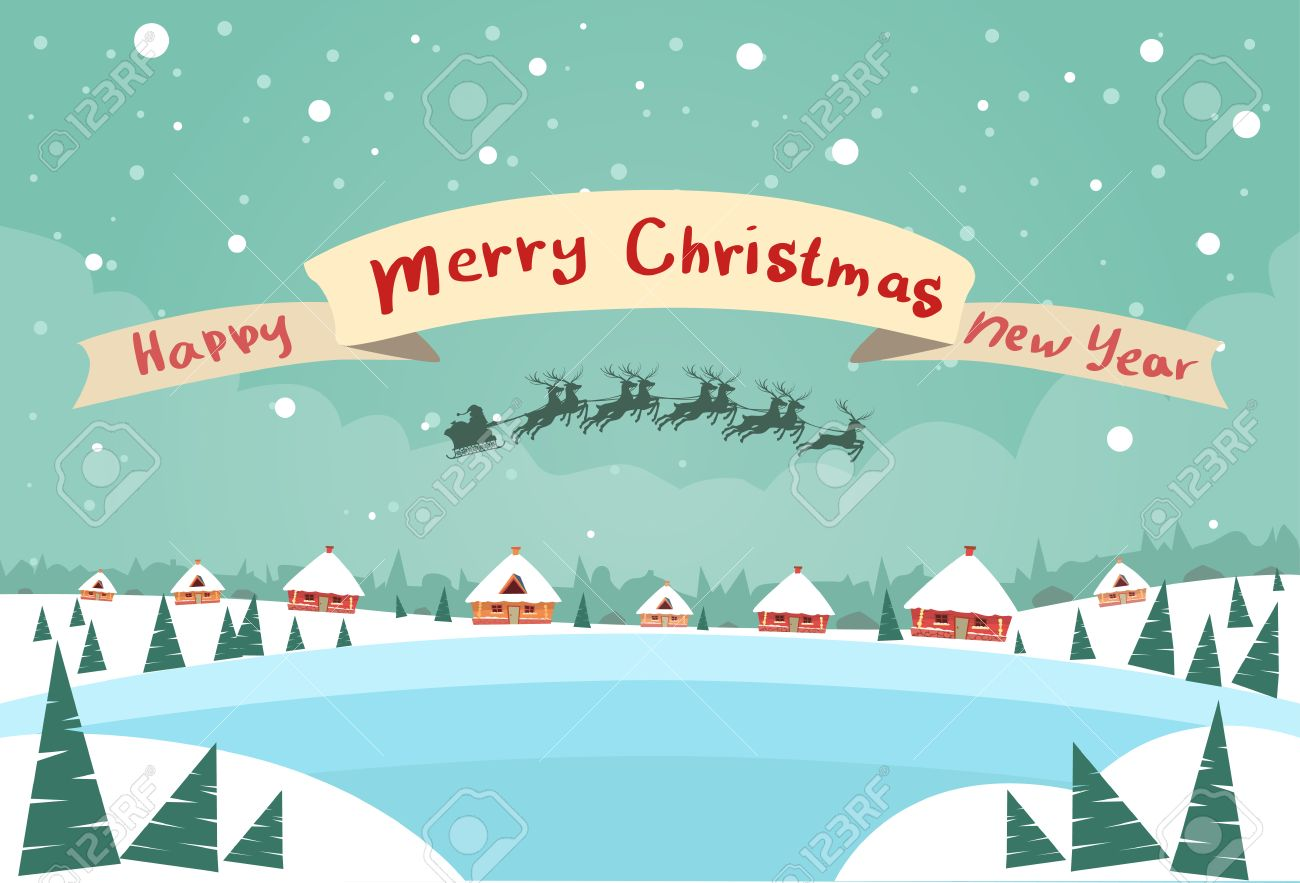 merry christmas and happy new year banner santa claus sleigh reindeer fly sky over house christmas