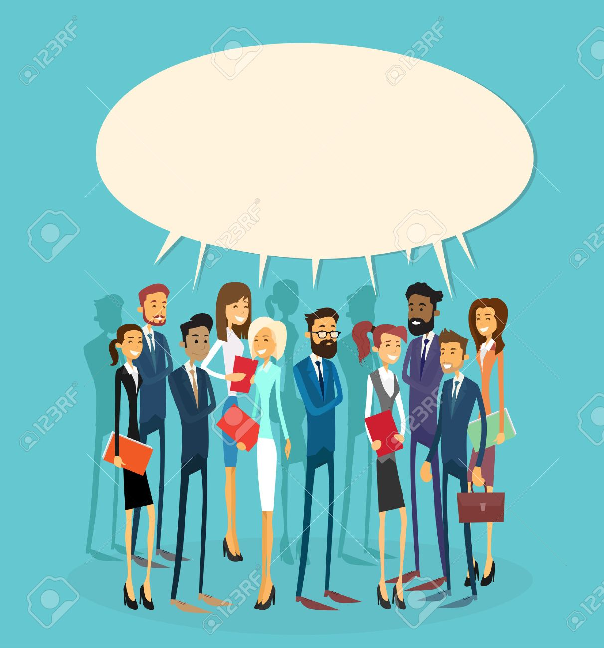 Business People Group Chat Communication Bubble Concept, Businesspeople Talking Discussing Communication Social Network Flat Vector Illustration Stock Vector - 47913661