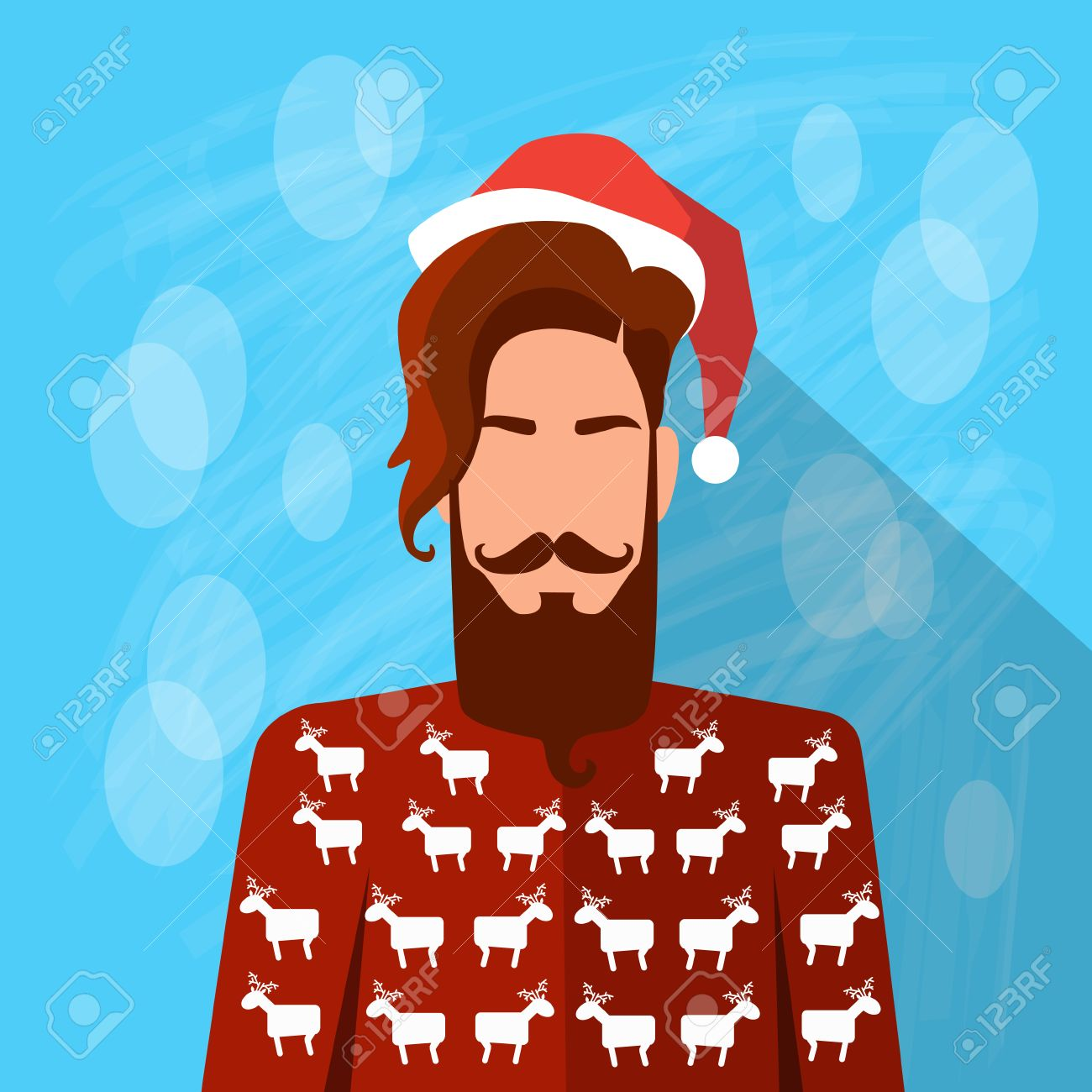 Profile Icon Male New Year Christmas Holiday Red Santa Hat Avatar ...