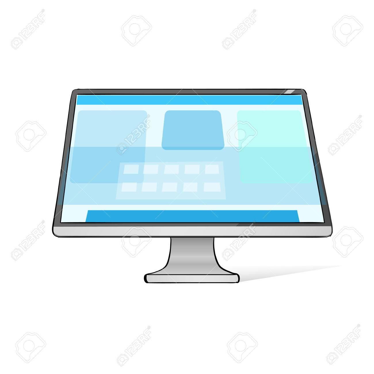 computer screen workstation hände zeichnen skizze wohnung vector