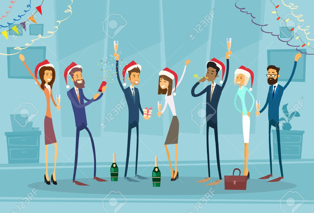 Businesspeople Celebrate Merry Christmas And Happy New Year Office Business People Team Santa Hat Flat Vector Illustration Stock Vector - 48255877
