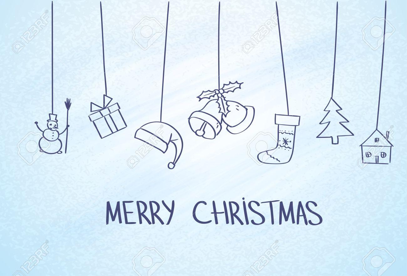 Gift Box Hänge Einfache Linie Sketch Blau, Frost, Eis Hintergrund ...