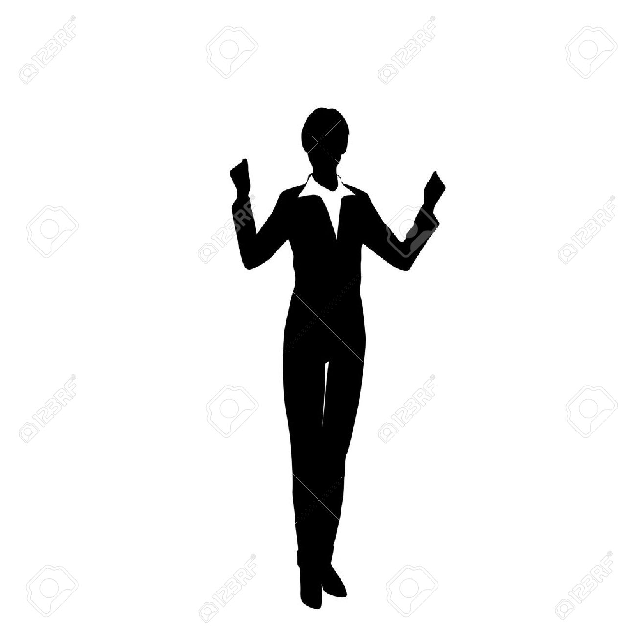 Business Woman Silhouette Excited Hold Hands Up Raised Arms ...
