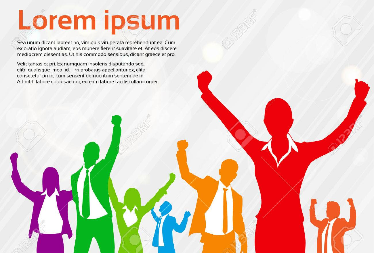 Business People Celebration Colorful Silhouette Hands Up, Businesswoman Concept Winner Success Vector Illustration - 48354891