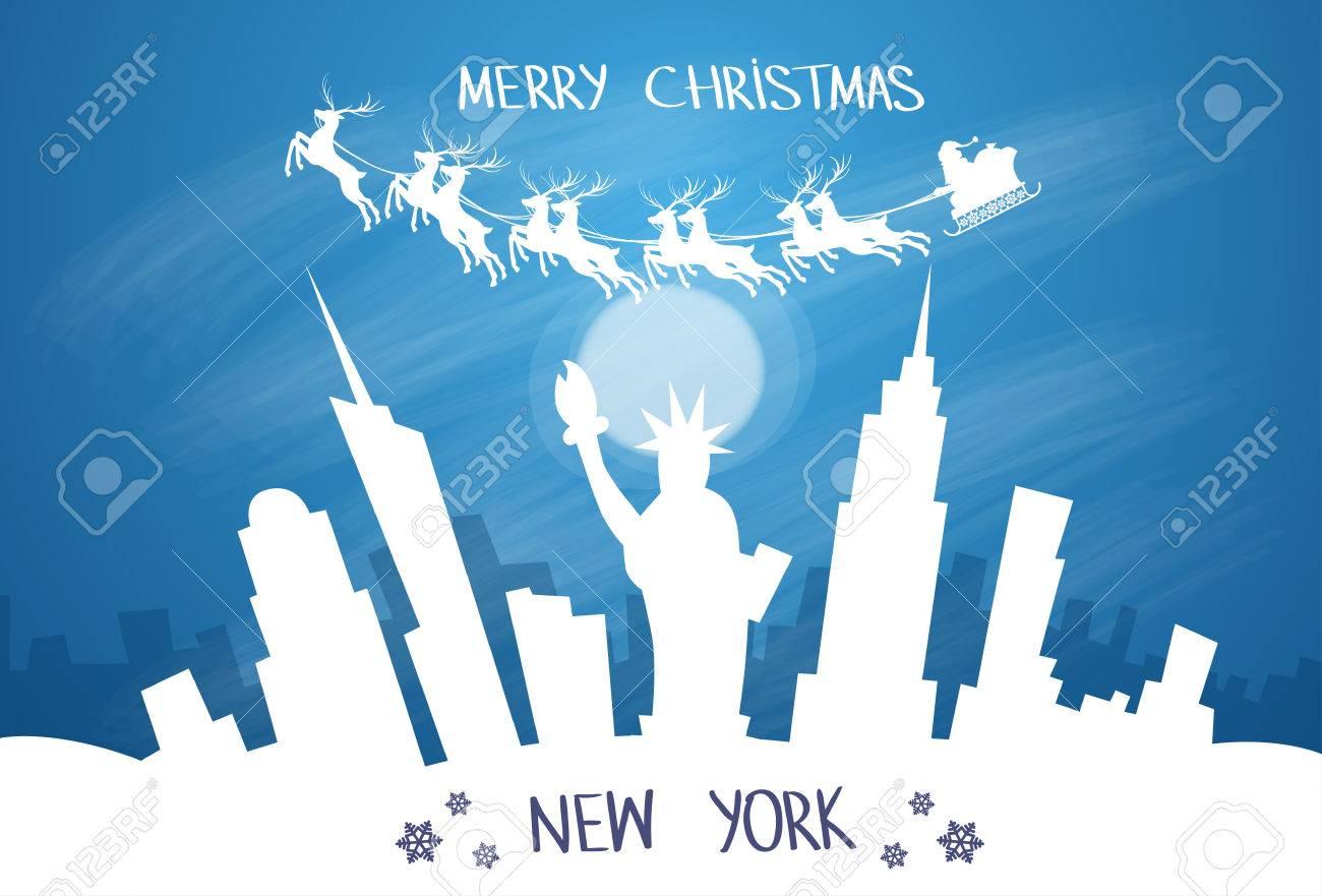 Santa Claus Sleigh Reindeer Fly Sky Over New York City USA ...
