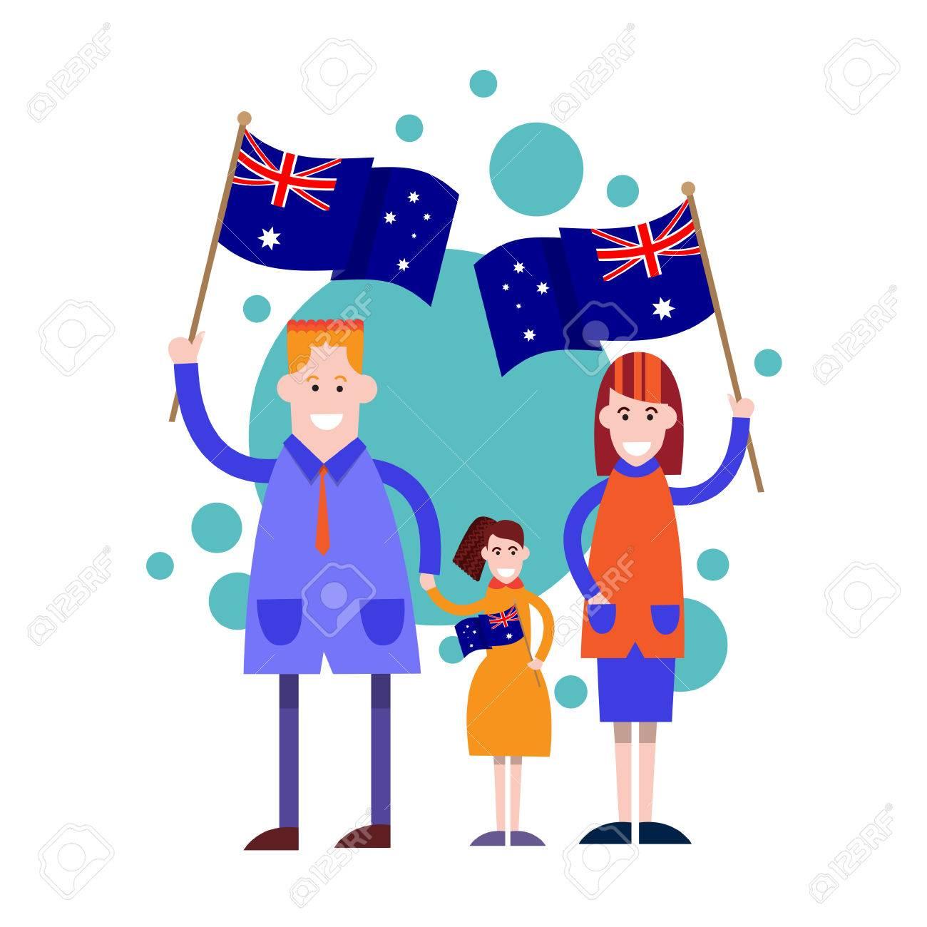Australia Day National Flag Family Kids Vector Illustration Royalty ...
