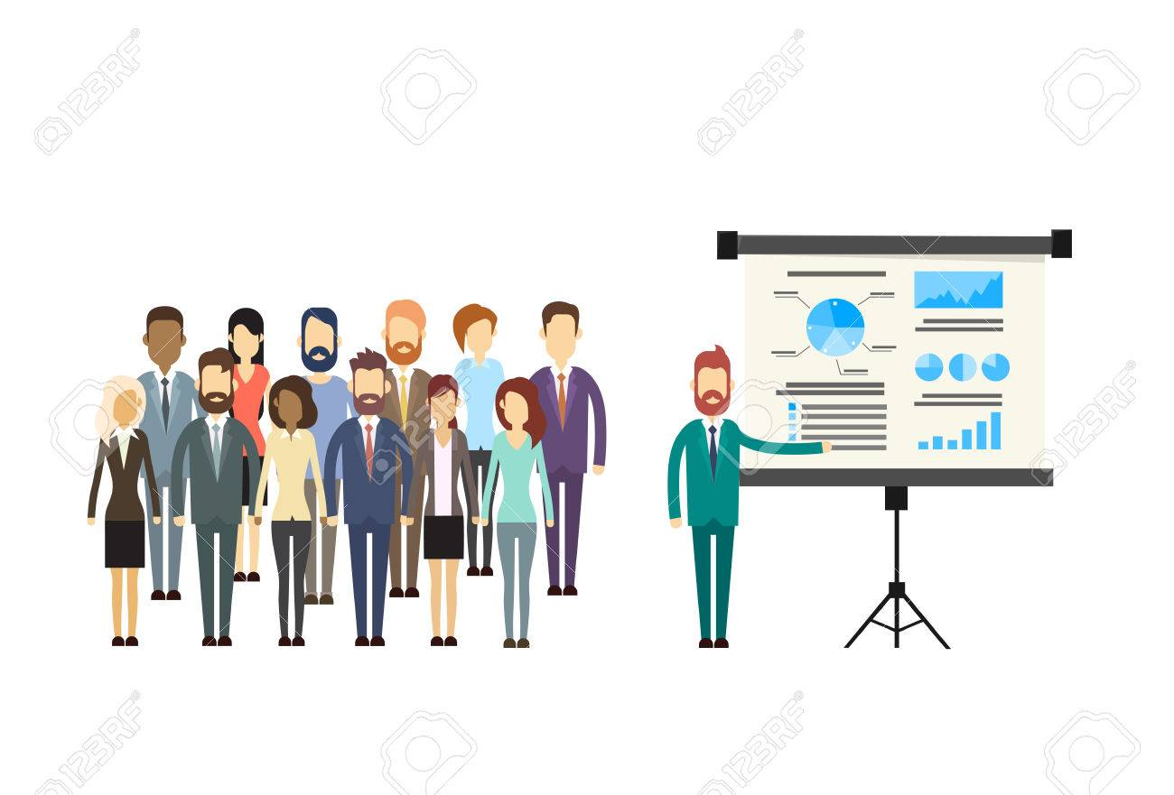 business people group presentation flip chart finance
