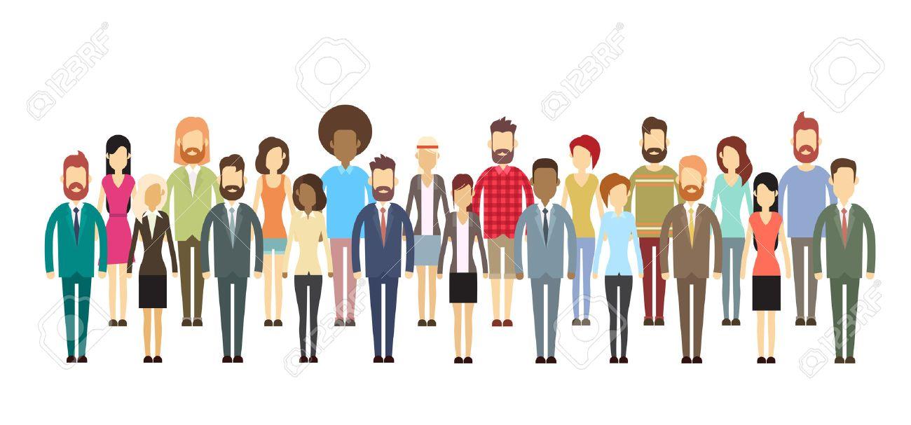 ビジネス人の大群衆ビジネスマン ミックス民族フラット ベクトル