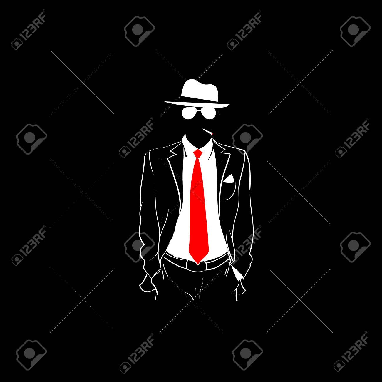 Man Silhouette Suit Red Tie Wear Glasses White Hat Black Background..