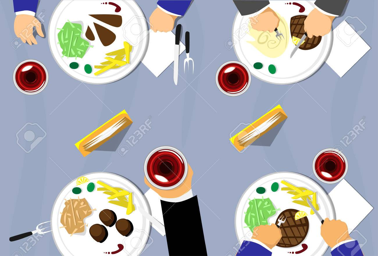 Restaurant Table Top View People Group Eating Plates Wine Glass - Restaurant glass table tops