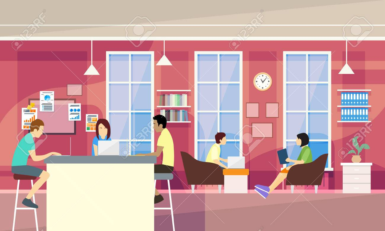 Casual People Group In Modern Office Sit Chatting, Students University Campus Vector Illustration - 52958839