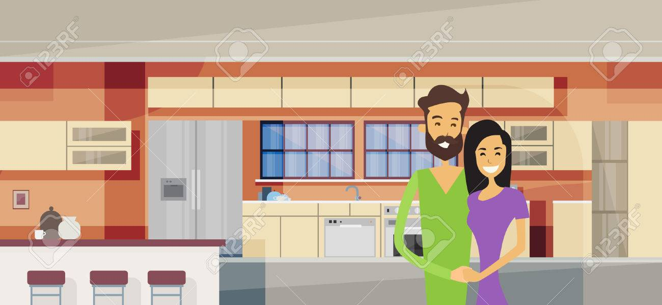 Couple Embracing In Modern Kitchen Interior Vector Illustration