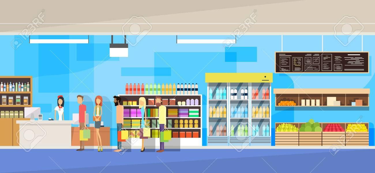 Big Shop Interior, Sales Woman, People Customers Stand In Line Cash Desk Vector Illustration - 52958273