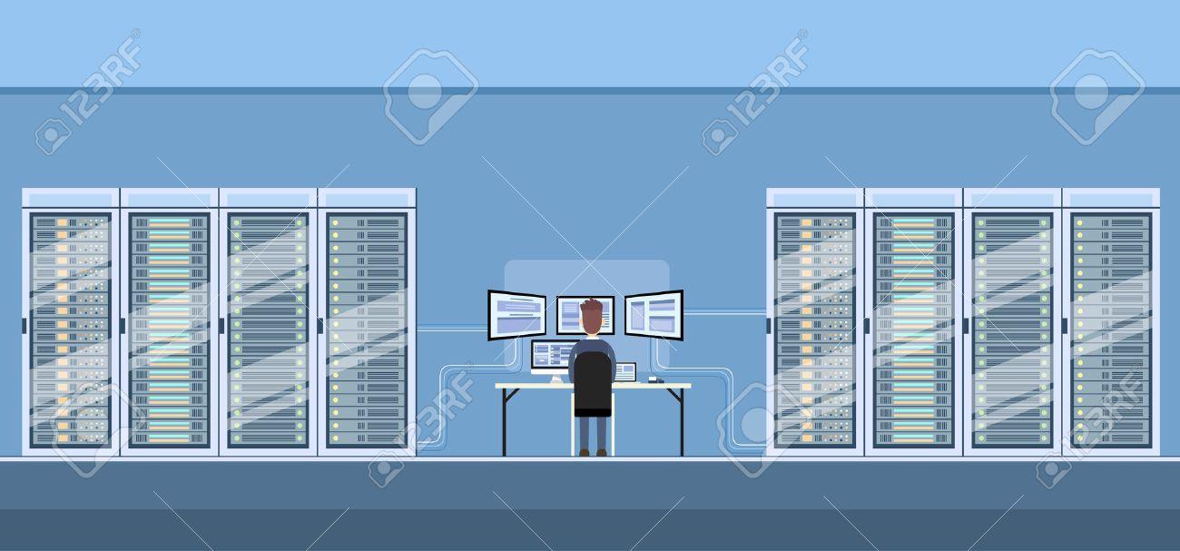 Man Working Data Center Technical Room Hosting Server Database Flat Vector Illustration - 53396544