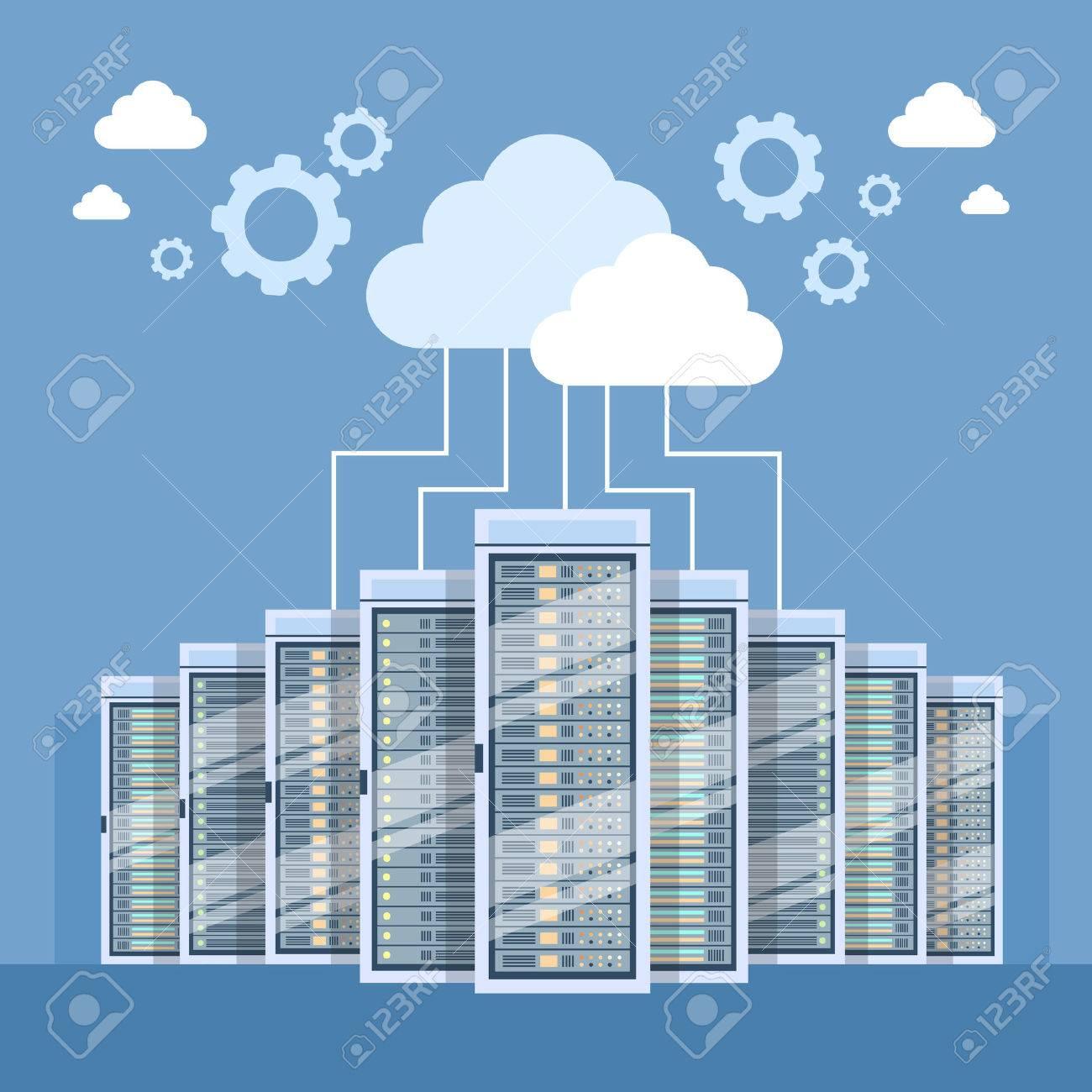 Data Center Cloud Connection Hosting Server Computer Information Database Synchronize Technology Flat Vector Illustration - 53396545