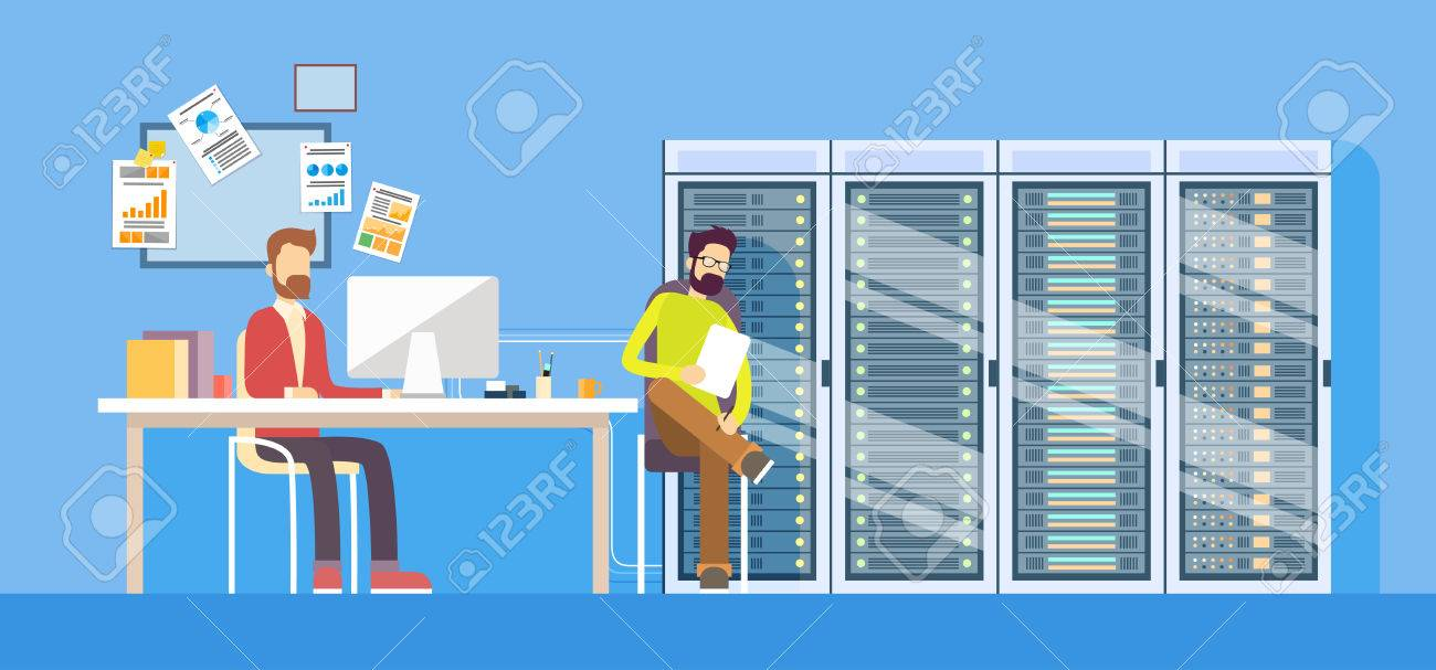People Working Data Center Technical Worker Man Administrator Sitting Desk Hosting Server Database Flat Vector Illustration - 53396547