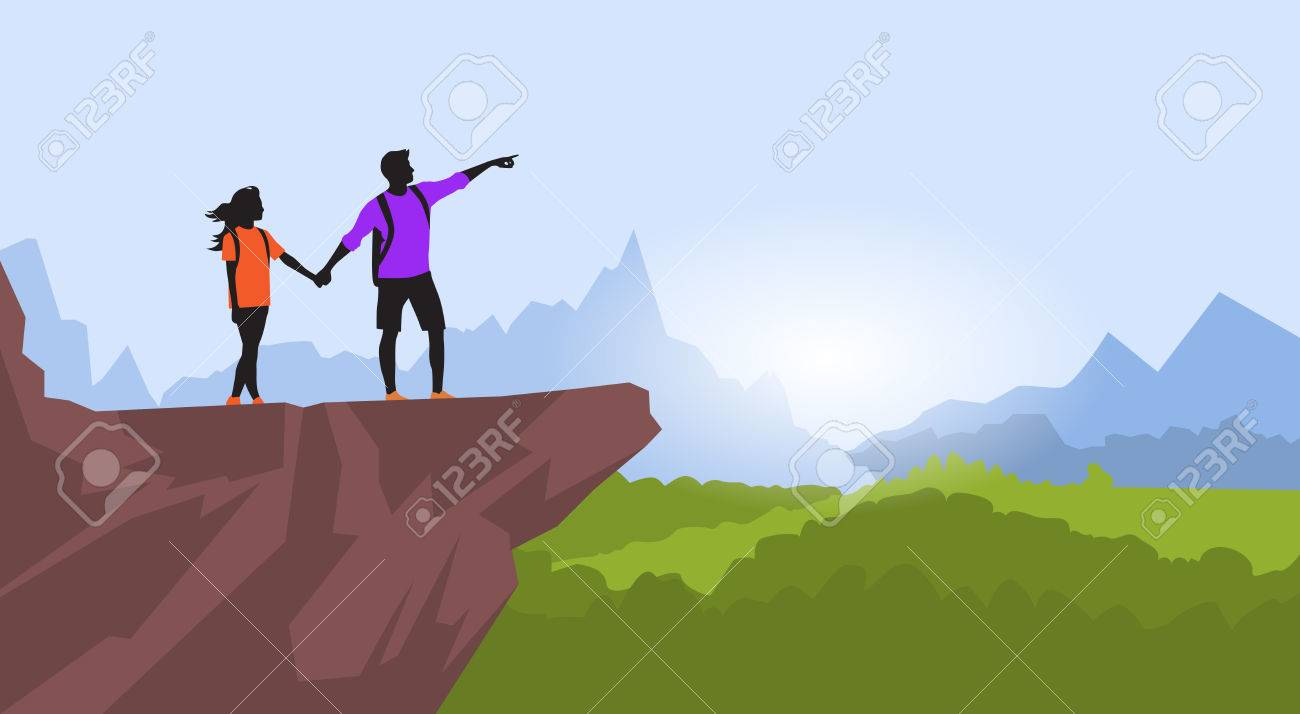 Couple Hiking Man Woman Silhouette Traveler Stand On Mountain