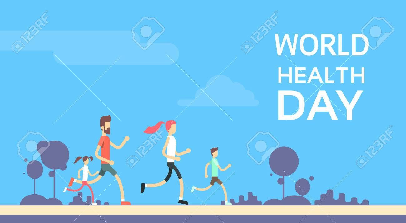 People Jogging Sport Family Fitness Run Training World Health Day 7 April Flat Vector Illustration - 54398722