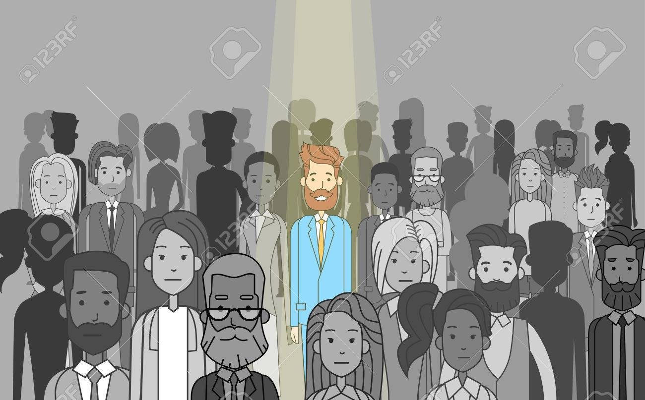 Businessman Leader Stand Out From Crowd Individual, Spotlight Hire Human Resource Recruitment Candidate People Group Business Team Concept Vector Illustration - 54758428