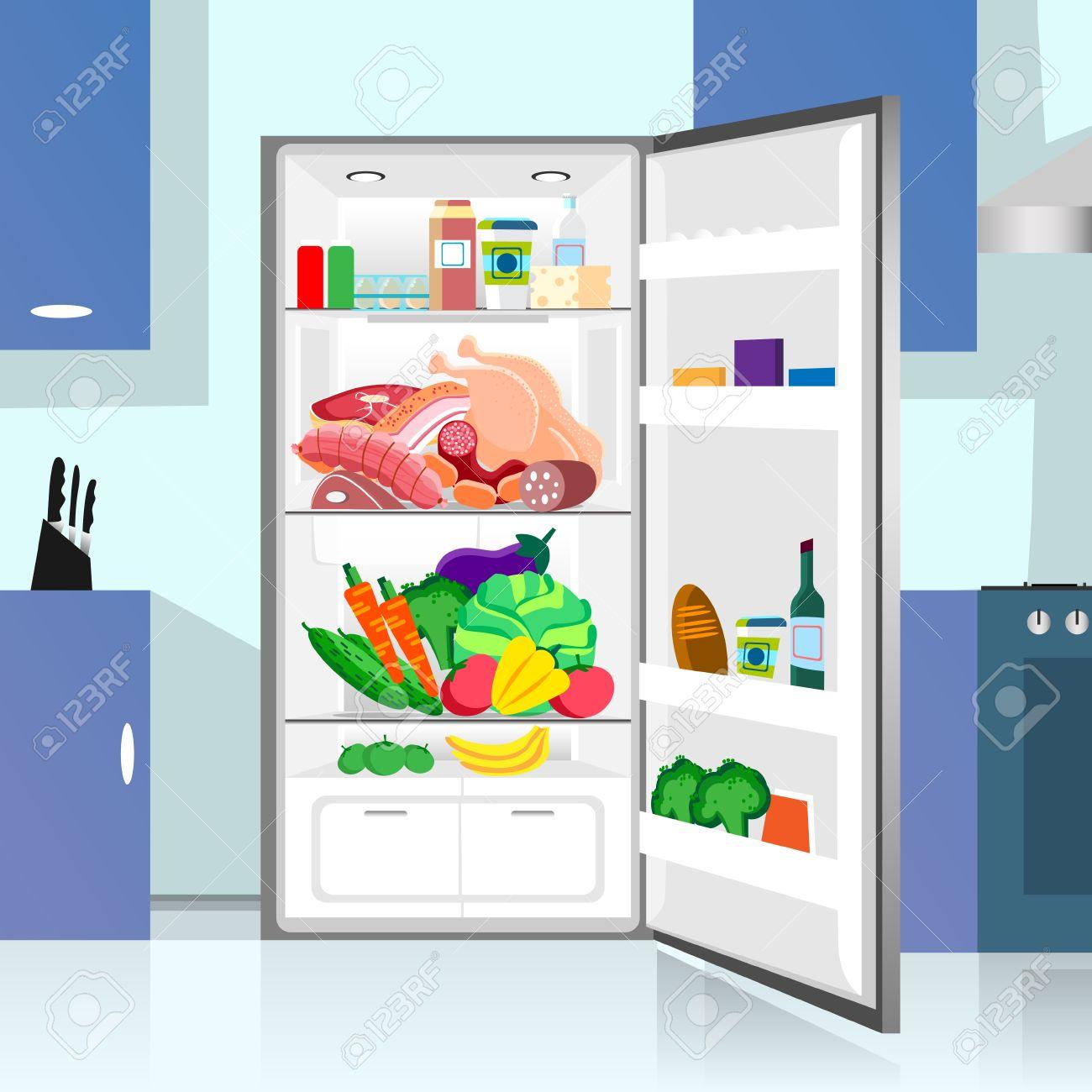 Eroffnet Kuhlschrank Lebensmittel Home Kuche Interieur Wohnung