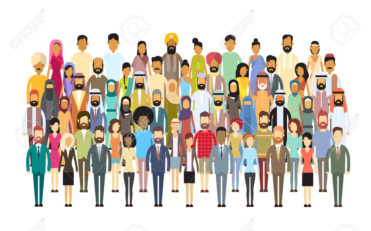 Group of Business People Big Crowd Businesspeople Mix Ethnic Diverse Flat Vector Illustration - 54759295