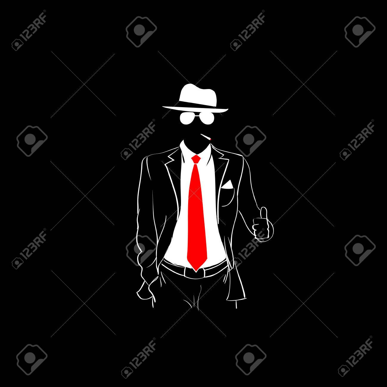 Foto de archivo - Hombre de la silueta traje rojo corbata Use anteojos  blanco pulgar de gestos Fondo Negro Ilustración Esquema Vector del contorno d2b782112fe
