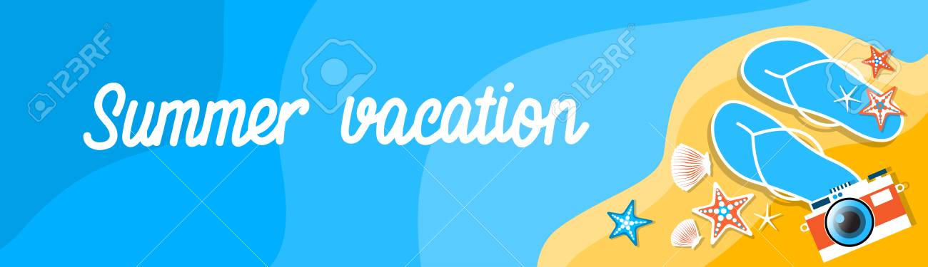 4ea3e4e0d5a8 Summer Beach Flip Flops Camera Tropical Vacation Banner Flat Vector  Illustration Stock Vector - 55345226