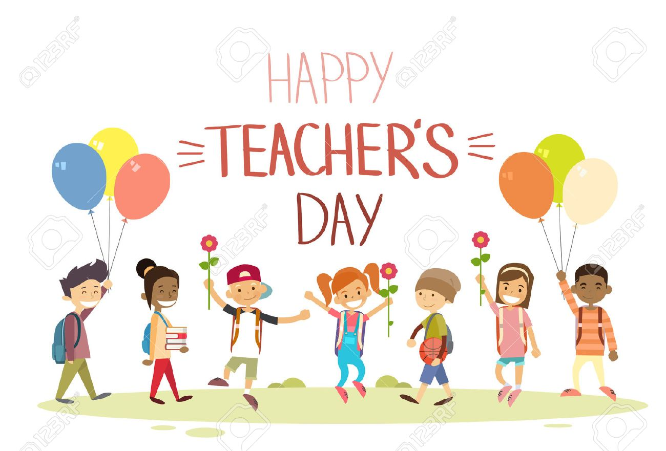 Teacher day school children group hold flowers balloons holiday teacher day school children group hold flowers balloons holiday greeting card flat vector illustration stock vector kristyandbryce Image collections