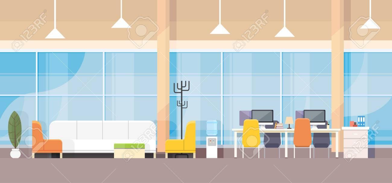 Modern Bank Office Interior Workplace Desk Flat Design Vector Illustration Stock