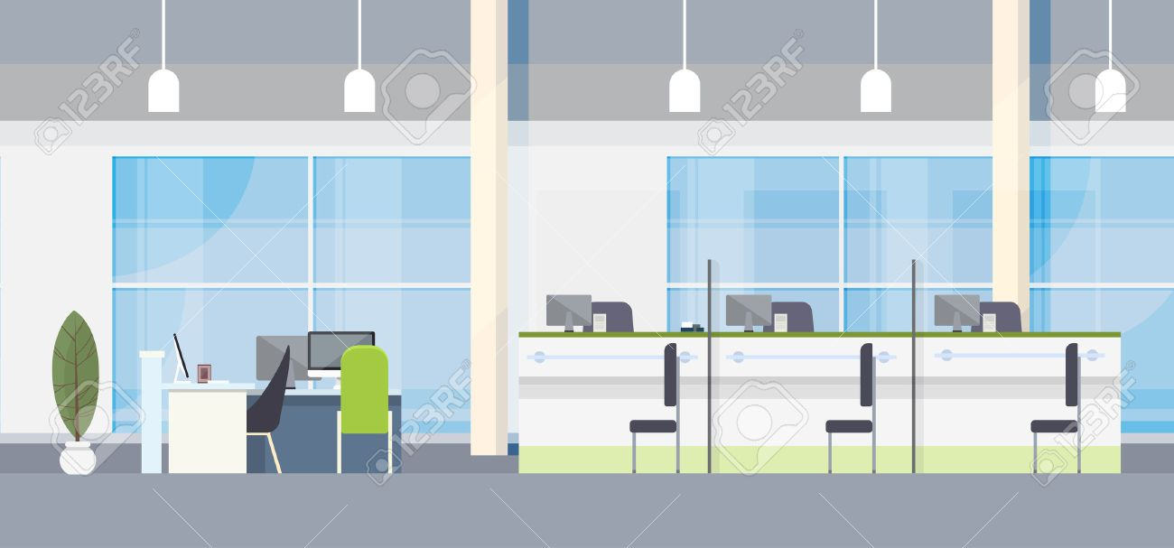 bank and office interiors. Modern Bank Office Interior Workplace Desk Flat Design Vector Illustration Stock - 55960777 And Interiors