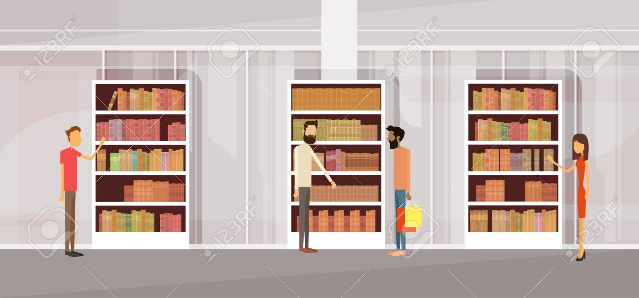 people in library book shop interior bookself flat vector rh 123rf com