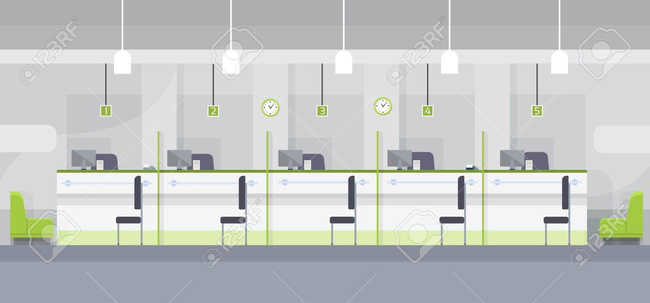 Modern Bank Office Cashier Interior Workplace Desk Flat Design Vector Illustration Stock