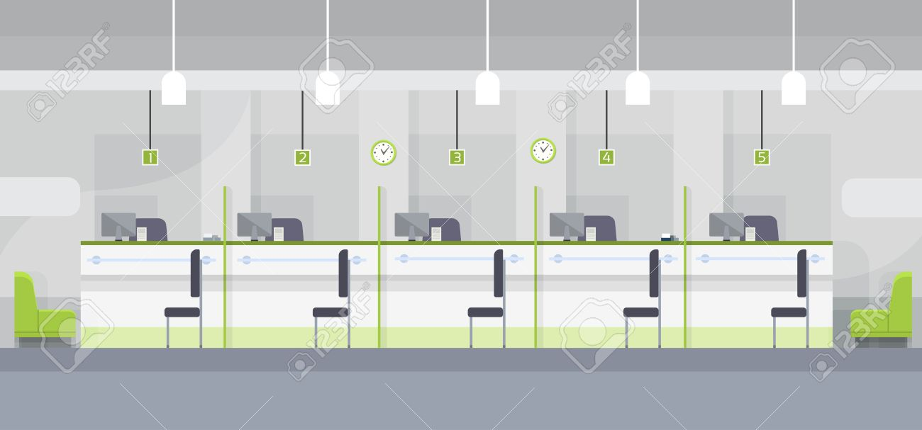 bank and office interiors. Modern Bank Office Cashier Interior Workplace Desk Flat Design Vector Illustration Stock - 56169929 And Interiors N