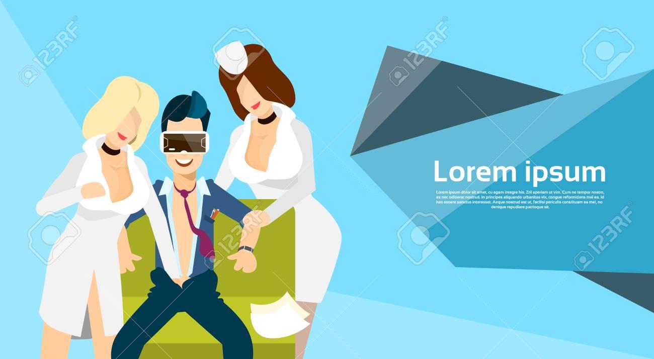 Man Wear Virtual Reality Digital Glasses Headset Watch Erotic Adult Video Flat Vector Illustration Stock Vector