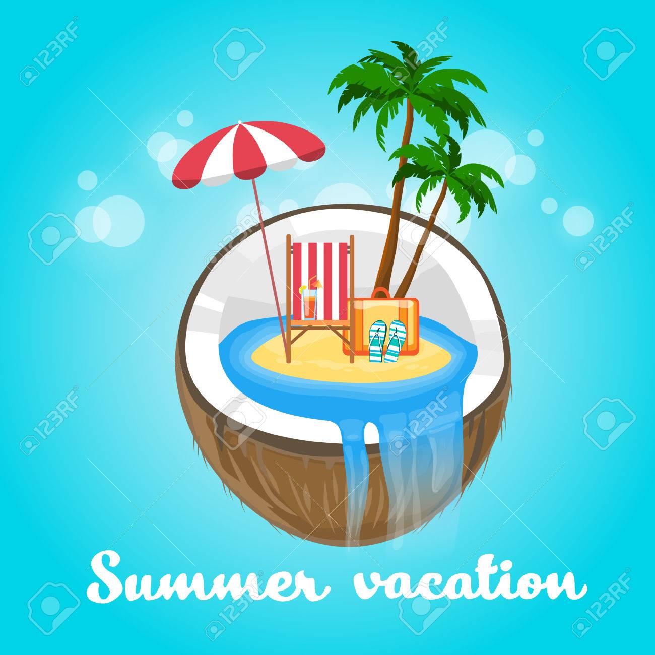 Coconut Tropical Island Summer Beach Vacation Concept Flat Vector