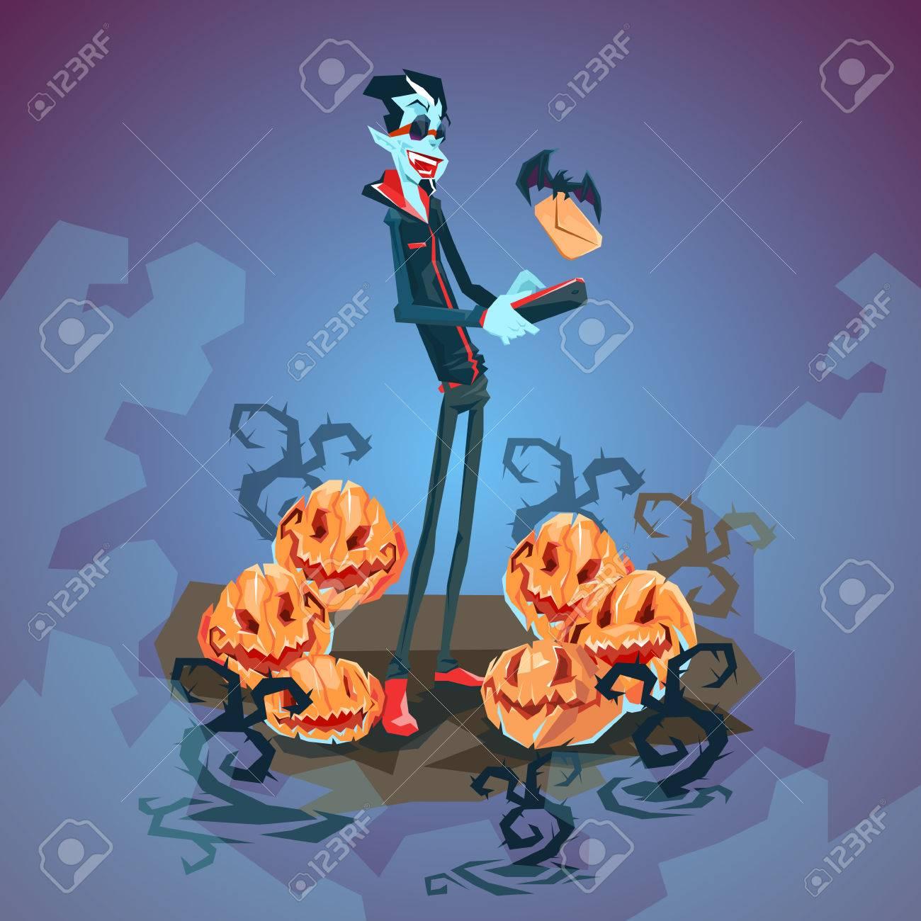 Vampire Dracula Using Cell Smart Phone Halloween Greeting Card