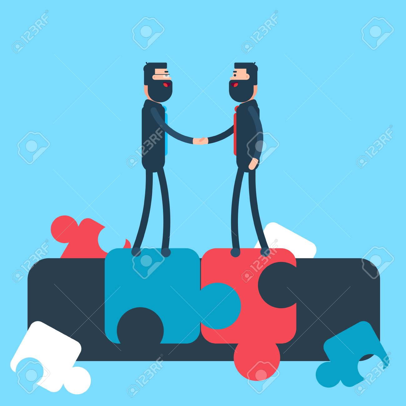 Business Man Shake Hand Puzzle Background Agreement Concept Flat ...