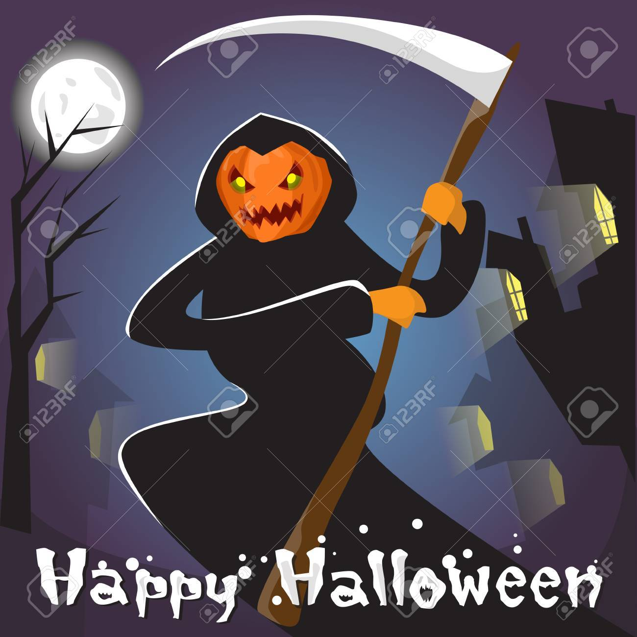 Grim Reaper With Pumpkin Face Hold Scythe Happy Halloween Banner Greeting Card Flat Vector Illustration Stock