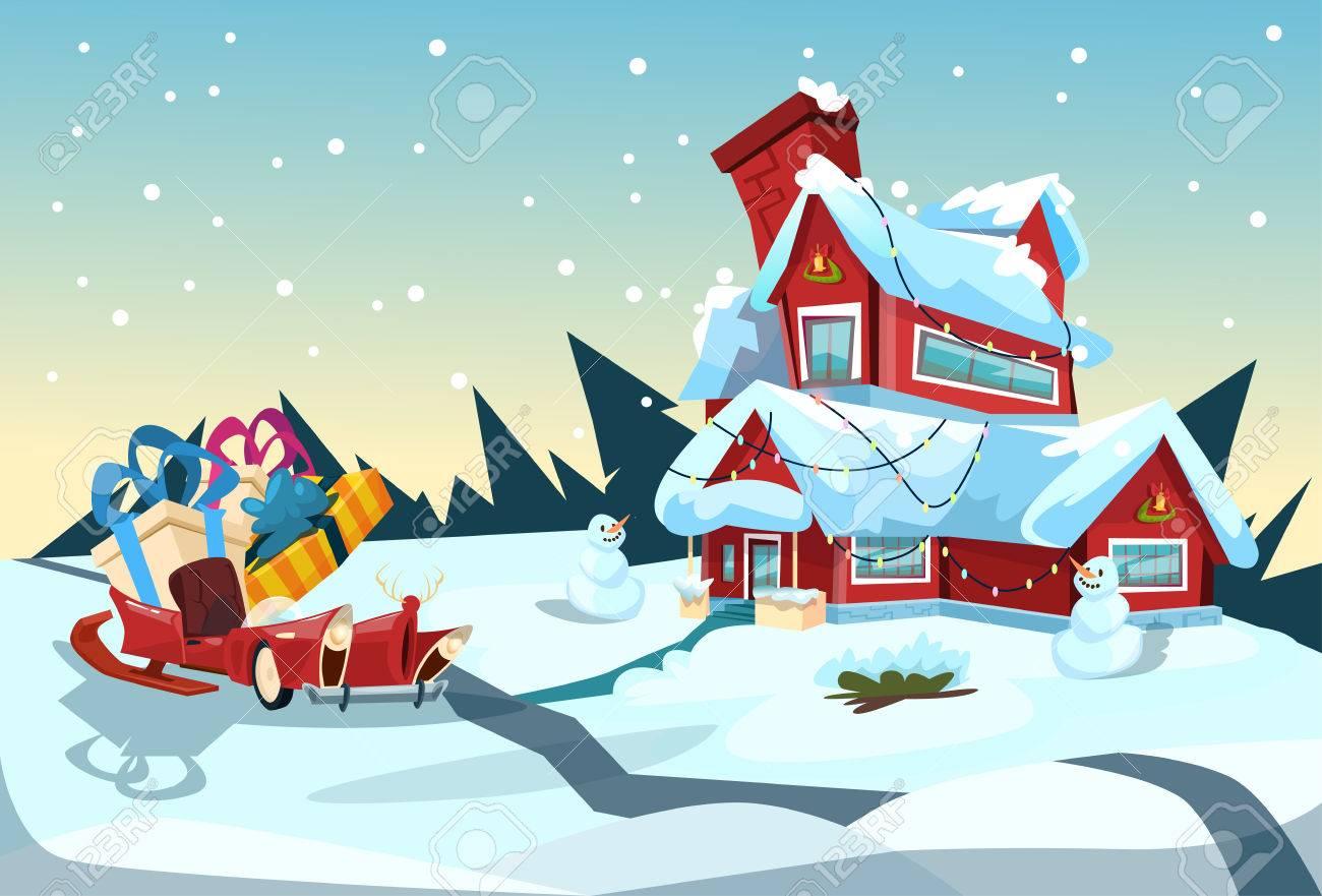 Santa claus sleigh near house christmas celebration new year santa claus sleigh near house christmas celebration new year greeting card flat vector illustration stock vector kristyandbryce Gallery