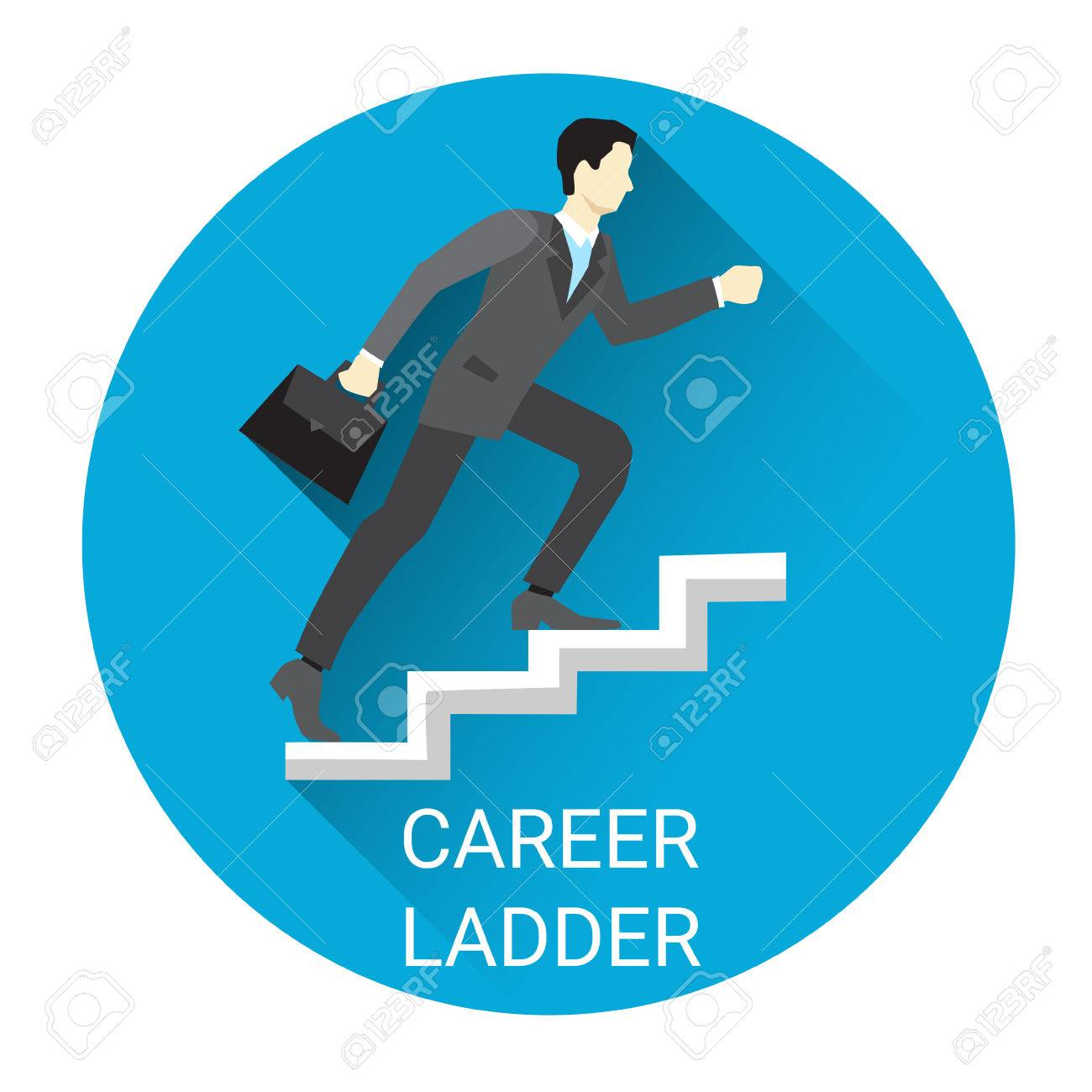 business man moving up career ladder icon flat vector illustration business man moving up career ladder icon flat vector illustration stock vector 61784804