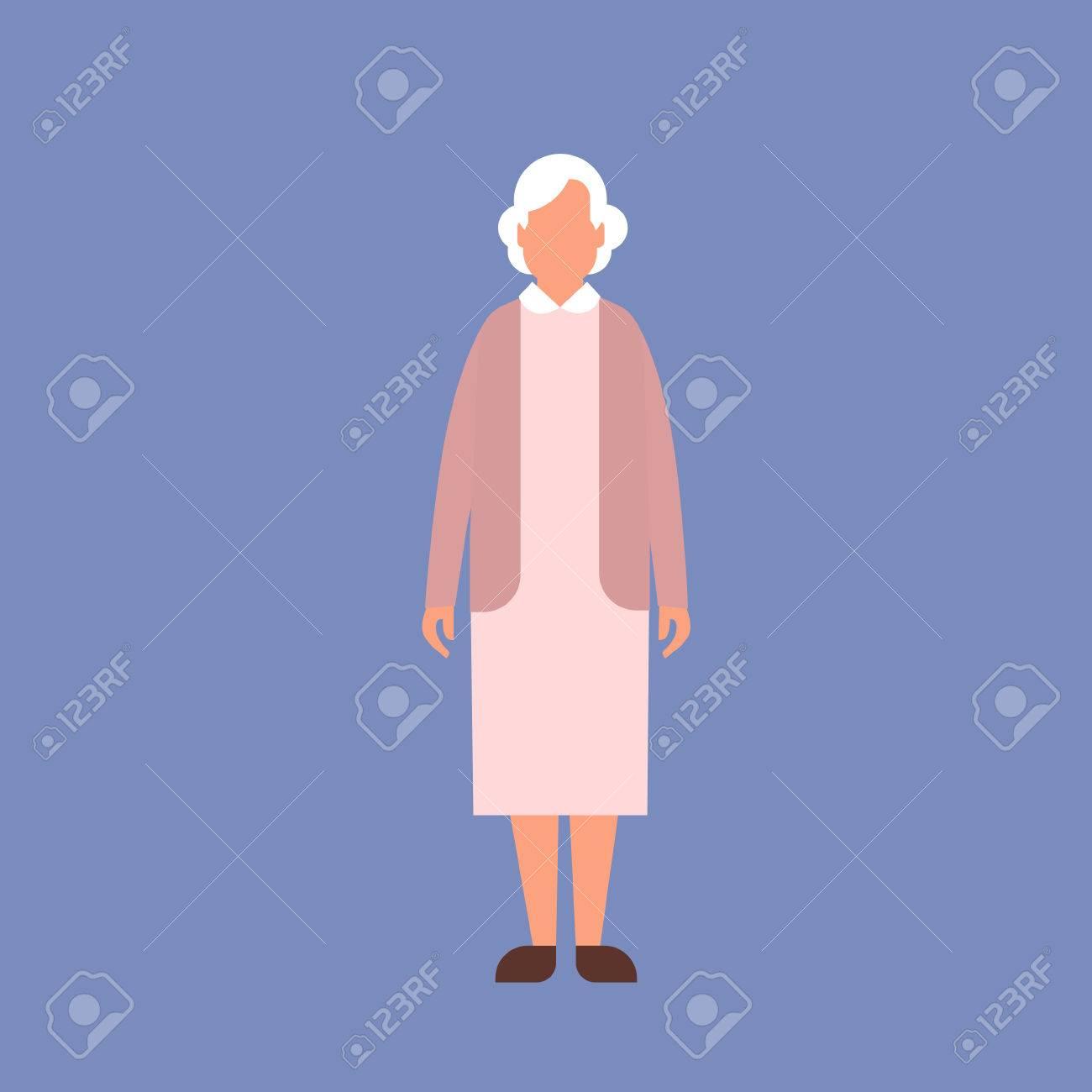 Señora Mayor Abuela Encuadre De Cuerpo Entero De La Ilustración De ...
