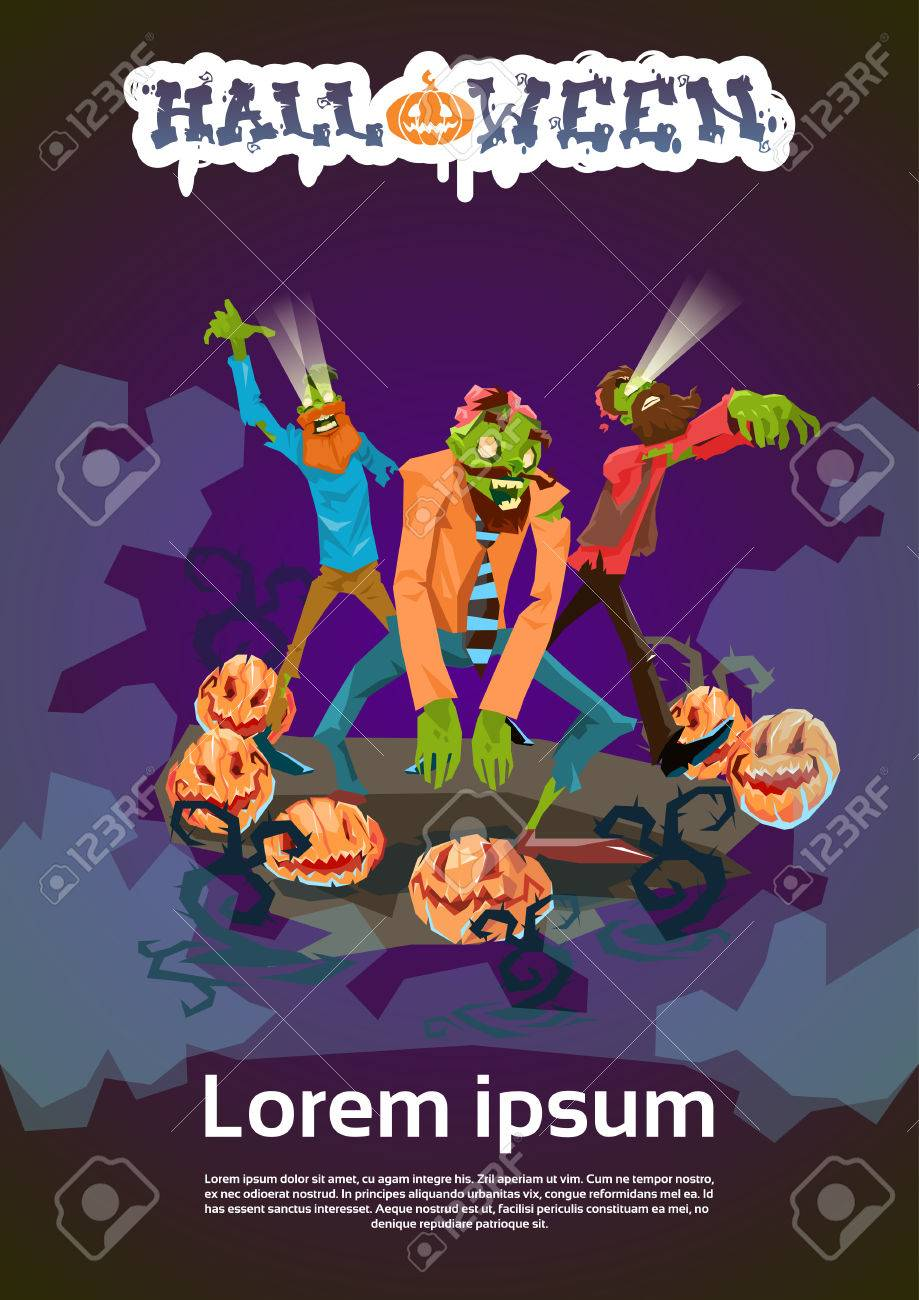 Zombie Hipster Group Happy Halloween Party Invitation Card Flat