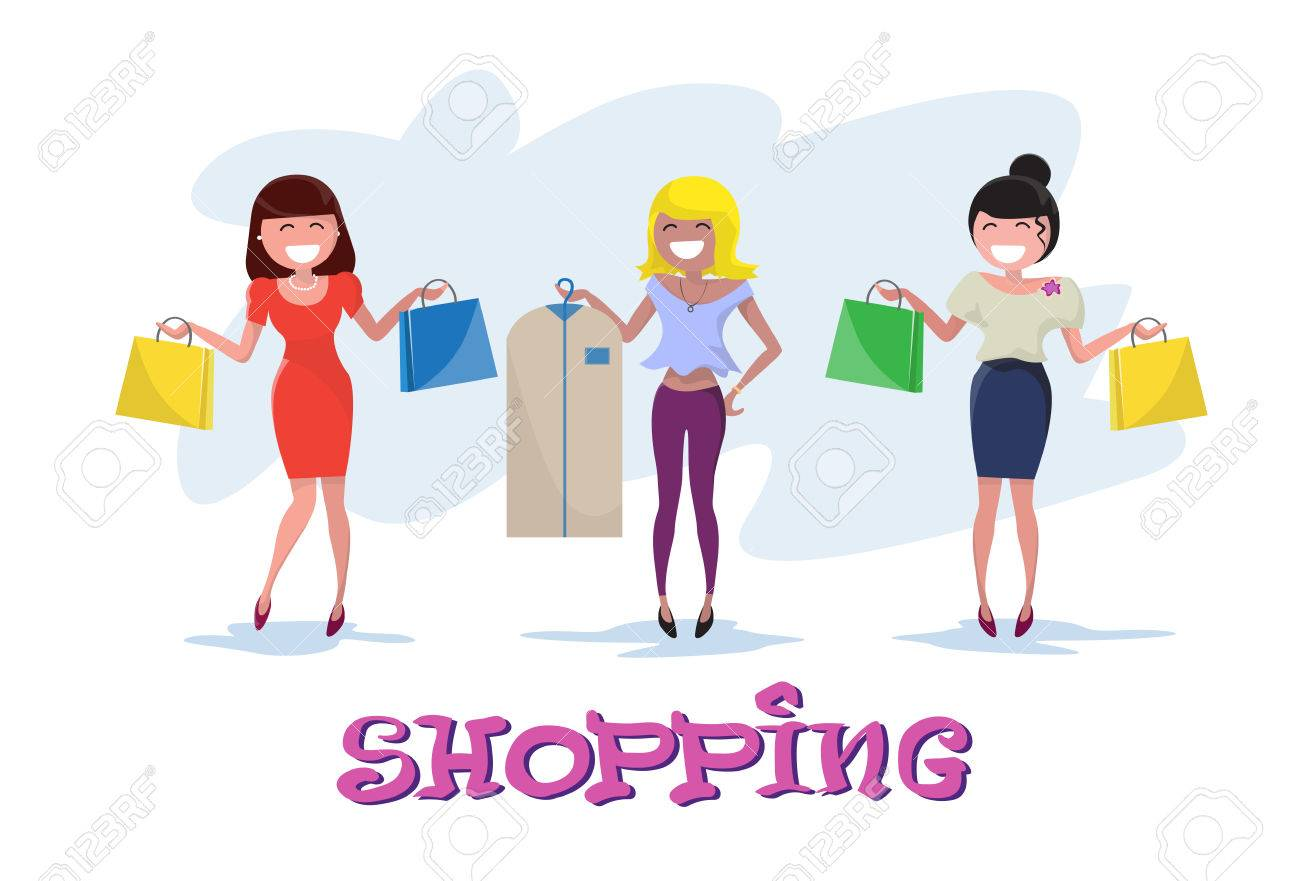 f34f42c6a0 Shopping Happy Smiling Woman Group with Bags Clothes Case Walking Flat Vector  Illustration Stock Vector -