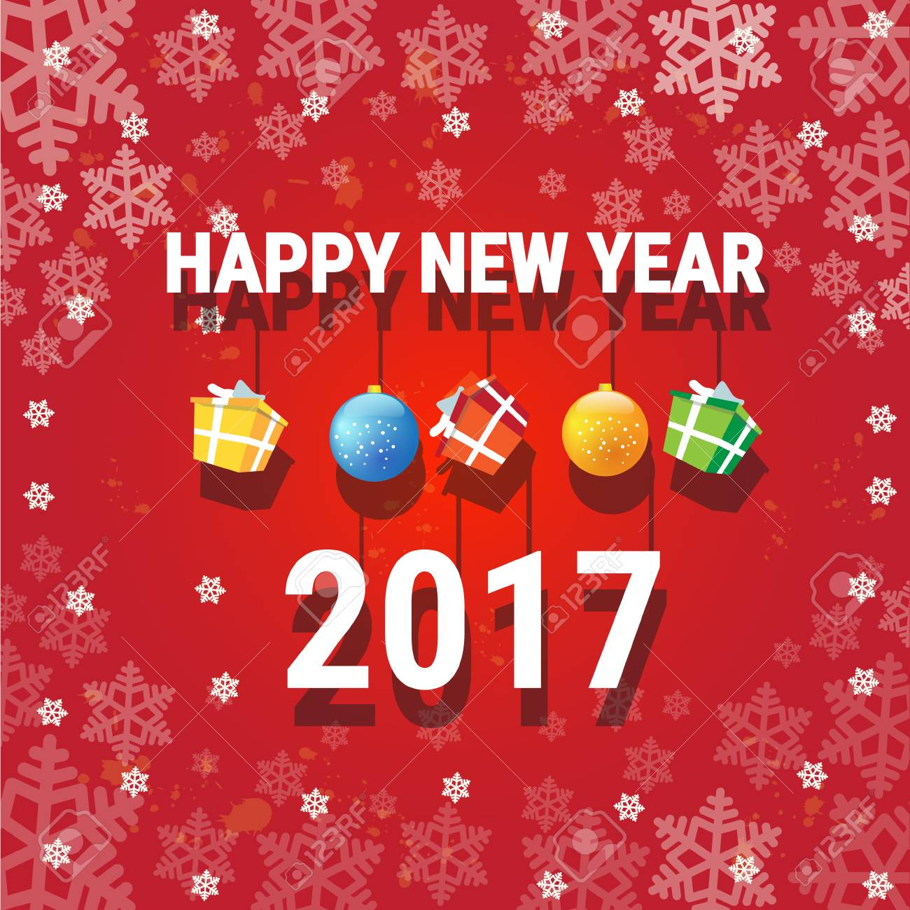 happy new year banner christmas decorations greeting card with copy space flat vector illustration stock vector