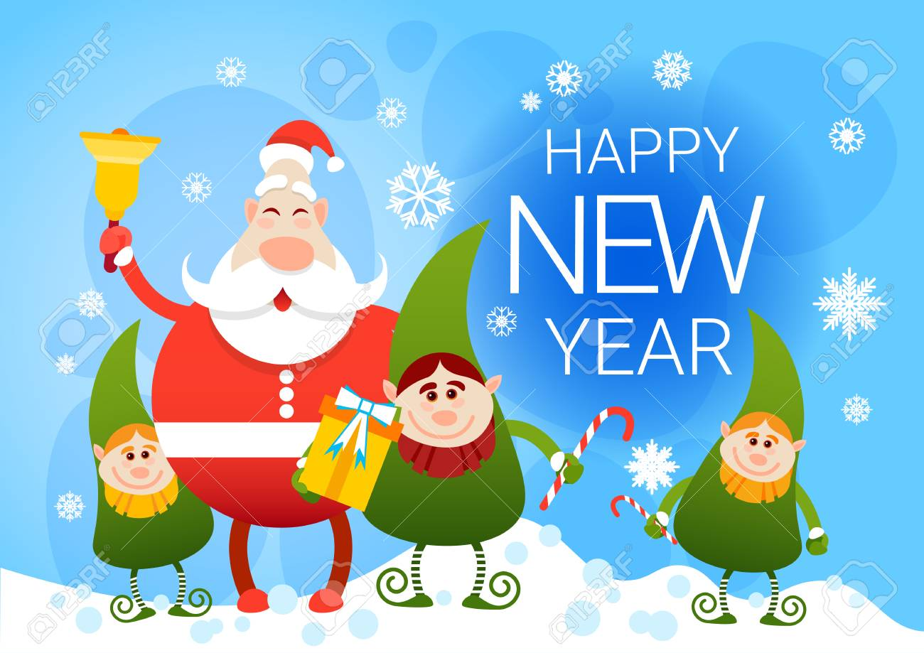 Smiling santa claus and christmas elf group with holiday present happy new  year flat vector illustration e4d967869