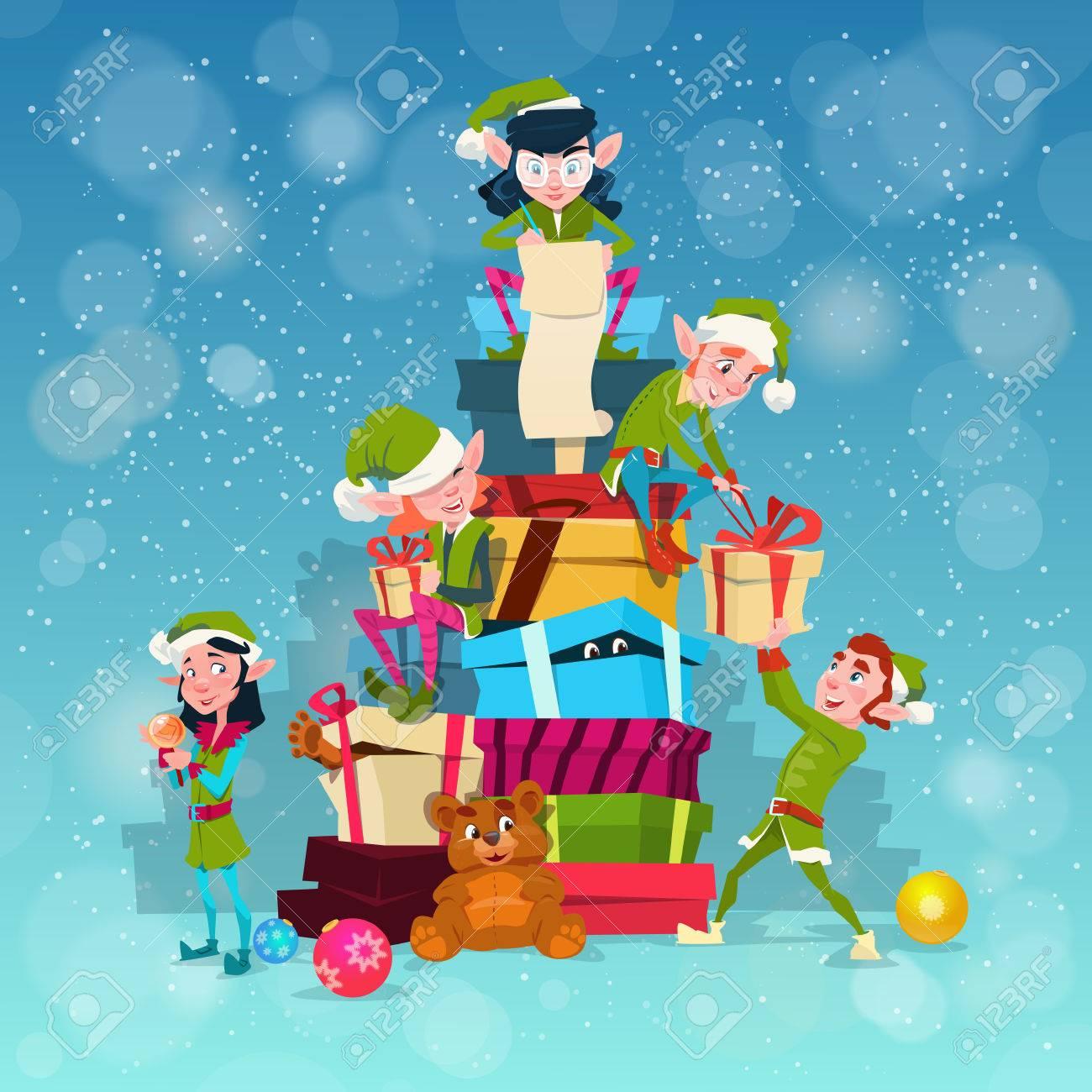 Christmas elf group cartoon character santa helper with present box stack  flat vector illustration stock vector 1c9c7c04a