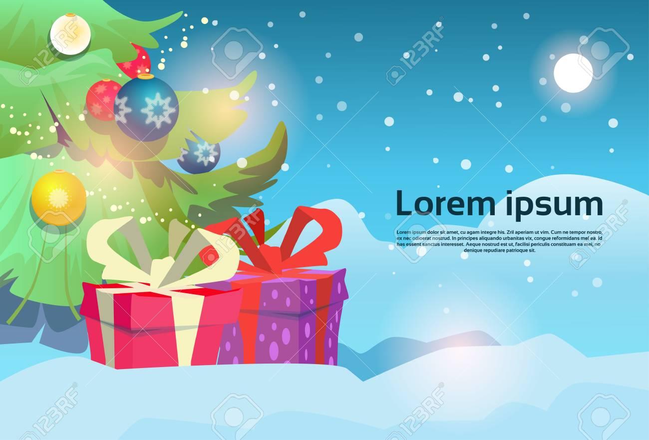 Weihnachtsgrüner Baum Mit Geschenkbox-Schnee-Gruß-Karten-Dekoration ...